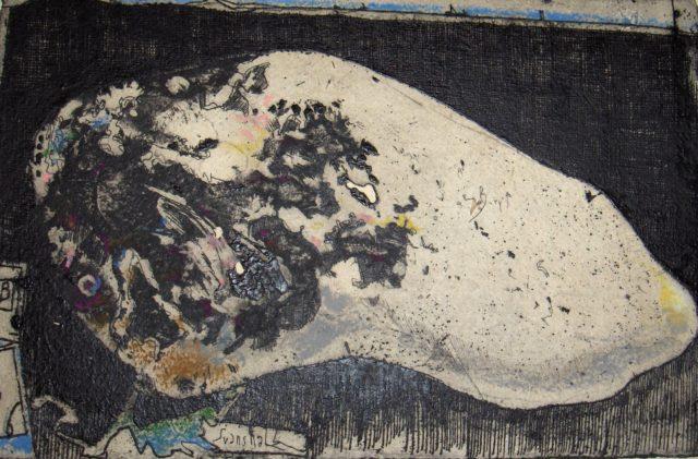 Horst Janssen, o.T. (Stein), 1976, Kupferstich, Radierung, 14,4 x 22,1 cm,