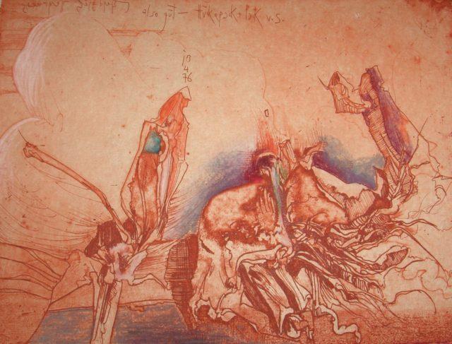 Horst Janssen, o.T. (Blüten), 1976, Kupferstich, Radierung, 18 x 23,9 cm,