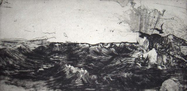 Horst Janssen, o.T. (Brandung), 1971/73, Kupferstich, Radierung, 14,5 x 29,8 cm,