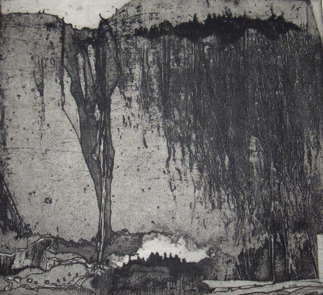 Horst Janssen, o.T. (Wasserfall, Felsen), n. D., Kupferstich, Radierung, 20,4 x 22,4 cm,
