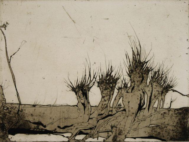 Horst Janssen, o.T. (Marsch, Landschaft), 1970, Kupferstich, Radierung, 22,5 x 29,8 cm,
