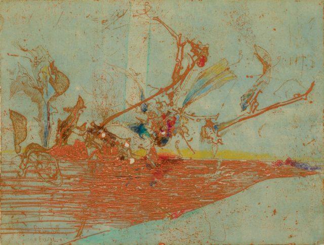Horst Janssen, o.T. (Vogel), 1976, Kupferstich, Radierung, Buntstift auf Papier, 18 x 23,7 cm,