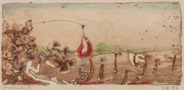 Horst Janssen, o.T. (Landschaft), 1976, Kupferstich, Radierung, Buntstift und Gouachefarbe auf Papier, 7,5 x 16,5 cm,
