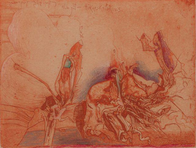 Horst Janssen, o.T. (Blüten), 1976, Kupferstich, Radierung, Buntstift auf Papier, 18 x 23,9 cm,